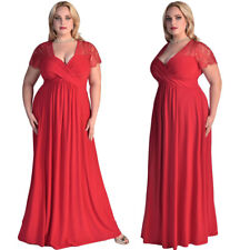 Plus Size Womens Short Sleeve Lace Evening Party Cocktail Gown Formal Maxi Dress