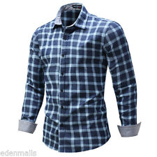 Mens Luxury Casual Slim Fit Stylish Long Sleeve Cotton Plaid Dress Shirts Tops