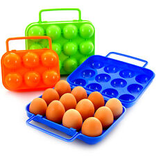 Portable Carry 12 Eggs Container Holder Storage Box Folding Plastic Camping New