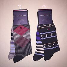 Mens Tommy Hilfiger Casual Dress Socks 2 Pair Argyle / Stripe Blue / Gray Nwt