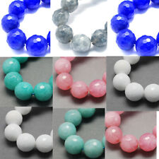 "14.9"" Strd Natural Jade Beads Faceted Gemstone Beads Round 8mm Craft Pick Color"