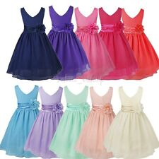 Flower Girl Chiffon Party Dress Communion Prom Princess Wedding Formal Dress
