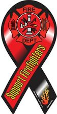 """4""""-10"""" SUPPORT Our FIREFIGHTERS FLAMES Fire Rescue Maltese Car Ribbon Magnet"""