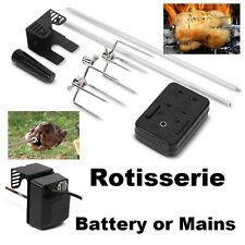Electric Motor BBQ Rotisserie Grill Roast Meat Rod Spit Universal Kit - Grizzly