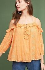Anthropologie Maryana Open-Shoulder Blouse by Floreat Tangerine NWT PXS PS XXS S