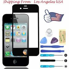 Front Outer Screen Glass Lens Replacement Repair Tools Kit FOR iPhone 4 4S Black