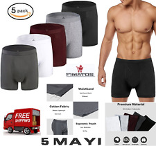 Boxer Briefs Cotton Mens Underwear Pack of 5 with Open Fly,S-XXL