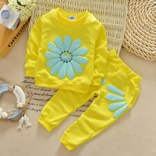 2pcs Girls Hot Toddler Flowers Outfits Set Boys Baby Clothes for Kids Tops+Pants