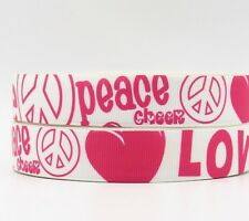 "Groovy White Peace Signs Love Cheer 7/8"" Printed Grosgrain Hairbow Ribbon"