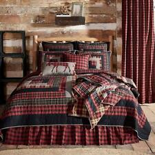 3PC CUMBERLAND RUSTIC PRIMITIVE RED PATCHWORK QUILT SHAMS BED SET VHC BRANDS