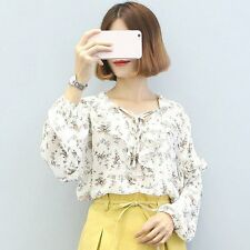 Lady Girl Chiffon Shirt Flouncing Lace Women Blouse Bowknot Front Strap LN