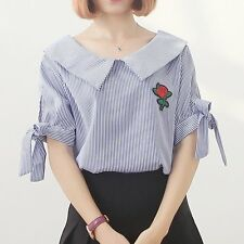 Rose Embroidery Vertical Stripes Bow Strap Shirt Loose Short Sleeve T-shirt LN