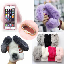 Luxury Ball Rabbit Fur Plush Soft Warm Winter Bling Back Case Cover For iPhone