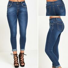 WOMENS SKINNY JEANS LADIES SLIM FIT STRETCH STAR STUDED DENIM BLUE WASH JEANS