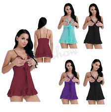 Women Lingerie Mesh Open Bust See-through Dress Babydoll Nightwear with G-string
