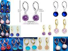 Earrings Dangle Cute Round CZ Purple/Red/Blue/Pink/White Color Gems White/Y/R GP