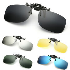 Polarized Clip On Flip Up Sunglasses Mirrored for Myopia Glasses Driving Shades