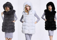Fashion Womens Hooded Winter Outwear Warm Gilet Vest Faux Fur Vest Jacket Coat