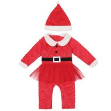Baby Boys Girls Santa Claus Romper Jumpsuit Long Sleeve Hat Christmas Outfit