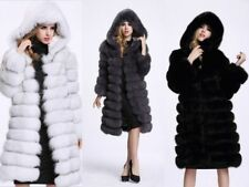 Women Hooded Long Warm Coat Outwear Faux Fur Winter Overcoat Jacket Coat