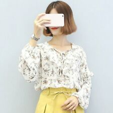 Lady Girl Chiffon Shirt Flouncing Lace Women Blouse Bowknot Front Strap FULN