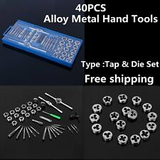 40PC MM METRIC Tap & Die Dies Set Bolt Screw Extractor/Puller Removal Kit Case@L