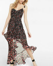 NWT Express Floral Print Tie Shoulder Ruffle Maxi Dress Value $88 SZ M/L Avail
