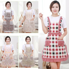 Cute BowKnot Dot Women Kitchen Restaurant Bib Cooking Aprons With Pocket