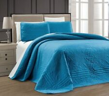 Twin XL Full Queen Cal King Bed Solid Blue 3 pc Quilt Set Coverlet Bedspread
