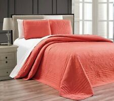 Twin XL Full Queen Cal King Bed Coral Pink 3 pc Quilt Set Coverlet Bedspread