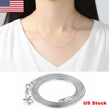 US Woman 925 Silver Plated Chain Necklace With Lobster Clasps Link Pendants Gift