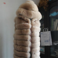 Women Long Coat Hooded Tan Vest Fashion Faux Fur Gilt Warm Outwear Overcoat