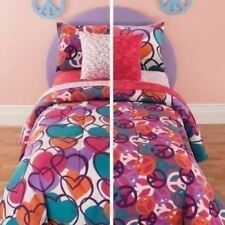 Girls Twin Full Bed Bag Pink Hearts Peace Sign 8 pc Comforter Sheets Set Bedding