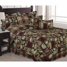 Twin Full Queen King Bed Green Burgundy Red Cabin Plaid Lodge 7 pc Comforter Set