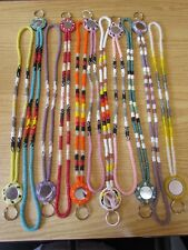 Beaded Lanyard, multiples colors available, hand made, keychains with mirrors