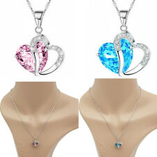925 Sterling Silver Double Heart Crystal Pendant Necklace Chain Women Ladies