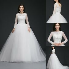 White/Ivory Tulle Wedding Dress Bead Bridal Gown Ball Size 2/4/6/8/10/12/14/16