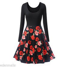Vintage cocktail Dress Polka Dot Floral Print long Sleeve party Swing Dress