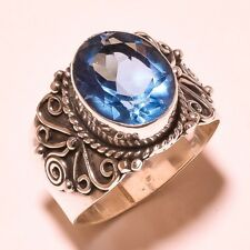 LONDON BLUE TOPAZ VINTAGE STYLE 925 STERLING SILVER OVERLAY RING SIZE 7, 8 , 9