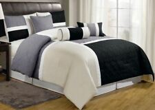 Full Queen Cal King Bed Black Gray Tan Color Block Patchwork 7 pc Comforter Set