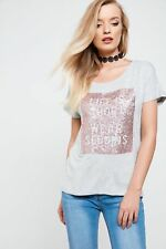 Only Womens Crew Neck Line Tee Cotton Blend with Short Sleeves and Sequin Design