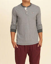 Abercrombie and Fitch Hollister T-Shirt Men's Icon Waffle Knit L/S XL Grey NWT