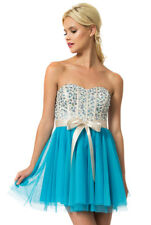 Teeze Me Queen Colleen Strapless Corset Jewel Beaded Tulle Skirt Dress