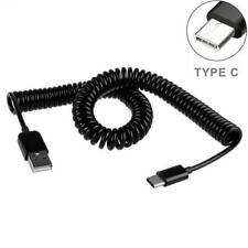For AT&T PHONES - BLACK COILED TYPE-C CABLE RAPID CHARGER SYNC USB WIRE