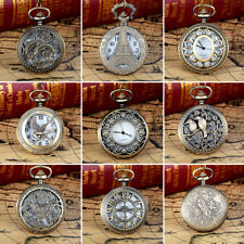 Retro Hollow Flower Bird Quartz Pocket Watch Pendant Chain Necklace Gift Brief