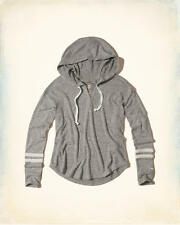 Abercrombie and Fitch Hollister Hoodie T-Shirt Womens Textured Fleece L Grey NWT