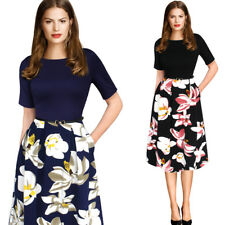 Fashion Women Floral Dress Belted Tunic Pinup Office lady Party Skater Dress