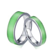 Glow in the Dark Couple Ring Titanium Steel Wedding Band Promise Engagement Ring