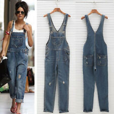 Women Washed Ripped Holes Overall Casual Jeans Jumpsuit Denim Rompers Long Pants