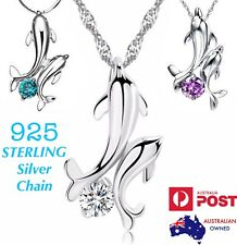 Double Dolphin Crystal Pendant 925 Sterling Silver Chain Necklace +Gift Pouch